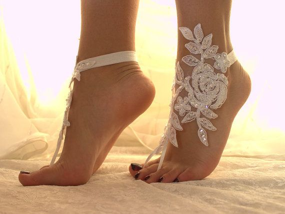 FREE SHPP White Lace Barefoot Sandals Wedding AnkletNudeShoes