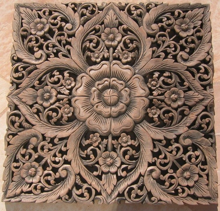 Thai teak wood carving panels x2 39 teak wood panel java finish id wpswp409 carved wooden - Wood panel artwork ...
