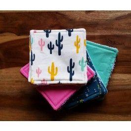 Pack de 12 cotons éponges Cactus - Créations bébé - Créations - Le hibou sur le fil