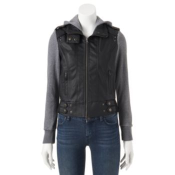 Miss London Faux-Leather Hoodie Jacket - Juniors   Lexi likes ...