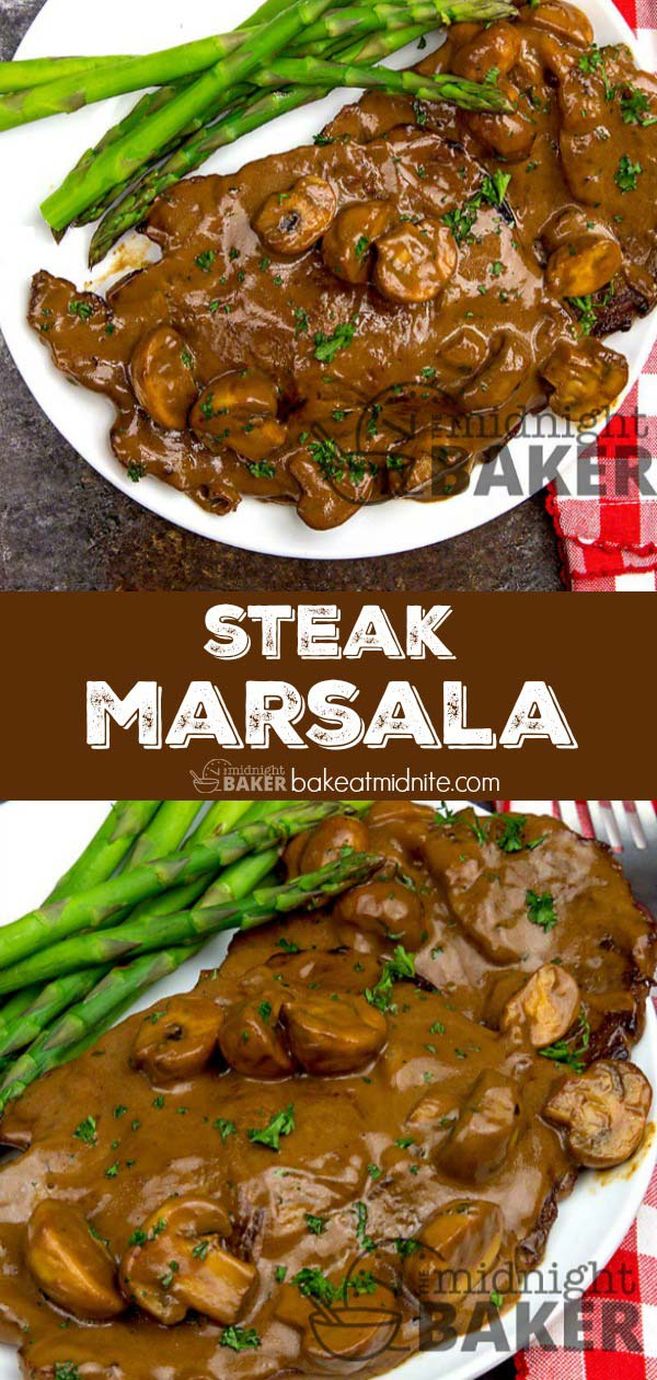 Steak Marsala - The Midnight Baker - Great Steak Recipe #beef #steak #marsala #steakrecipes #recipes #beefsteakrecipe