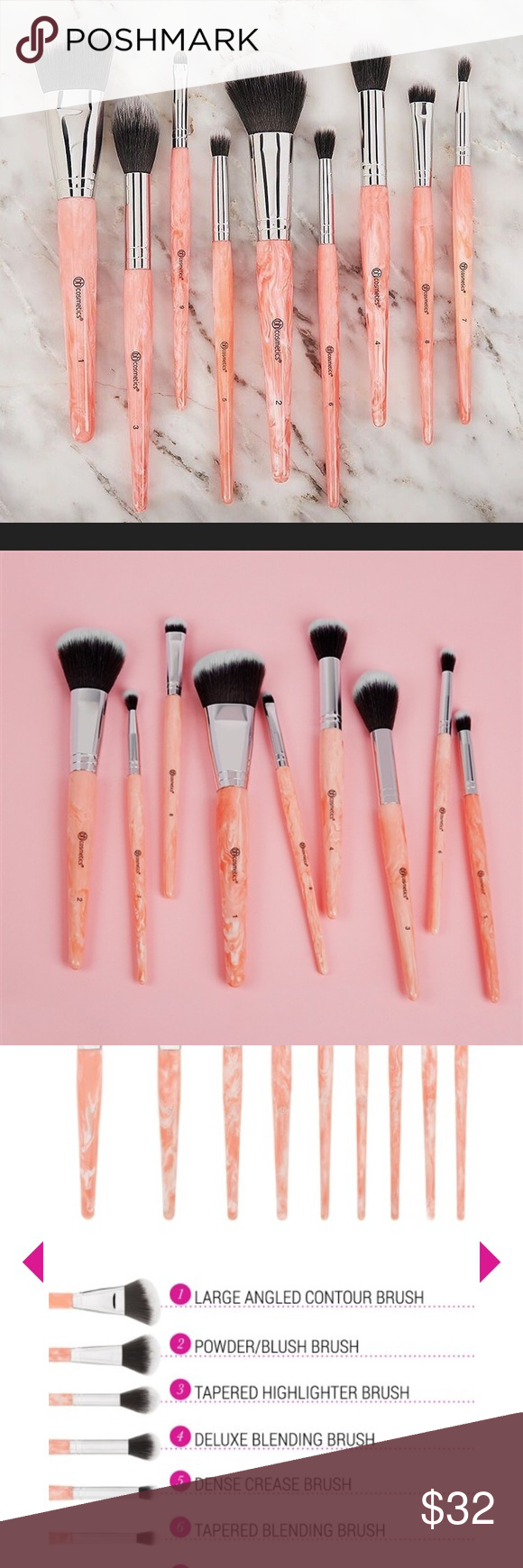️BH limited E ! 9Pc Rose quartz brushset NIB🌷 Boutique