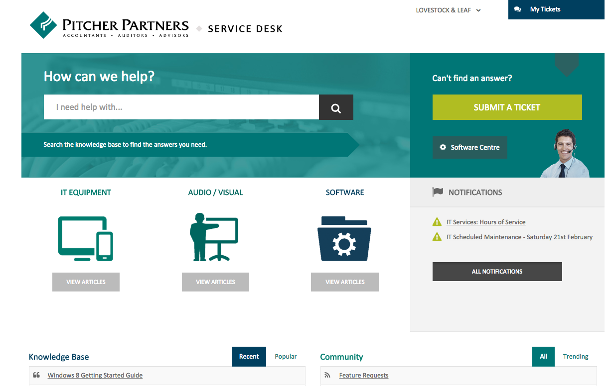 Pitcher Partners Employee Service Desk - Zendesk Help Center with ITSM service catalogue. (With ...