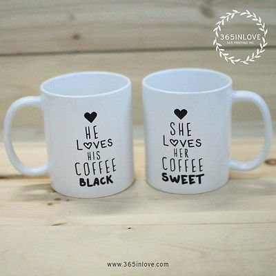 Black Coffee Matching Couple Mugs His And Hers Matching Coffee