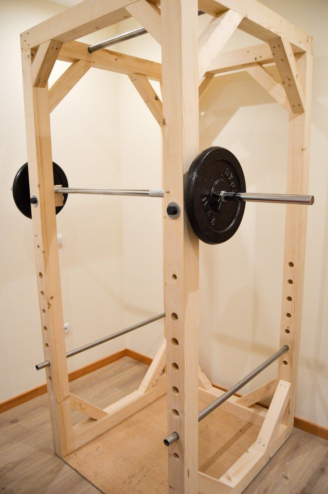 Homemade diy power rack fitness equipment