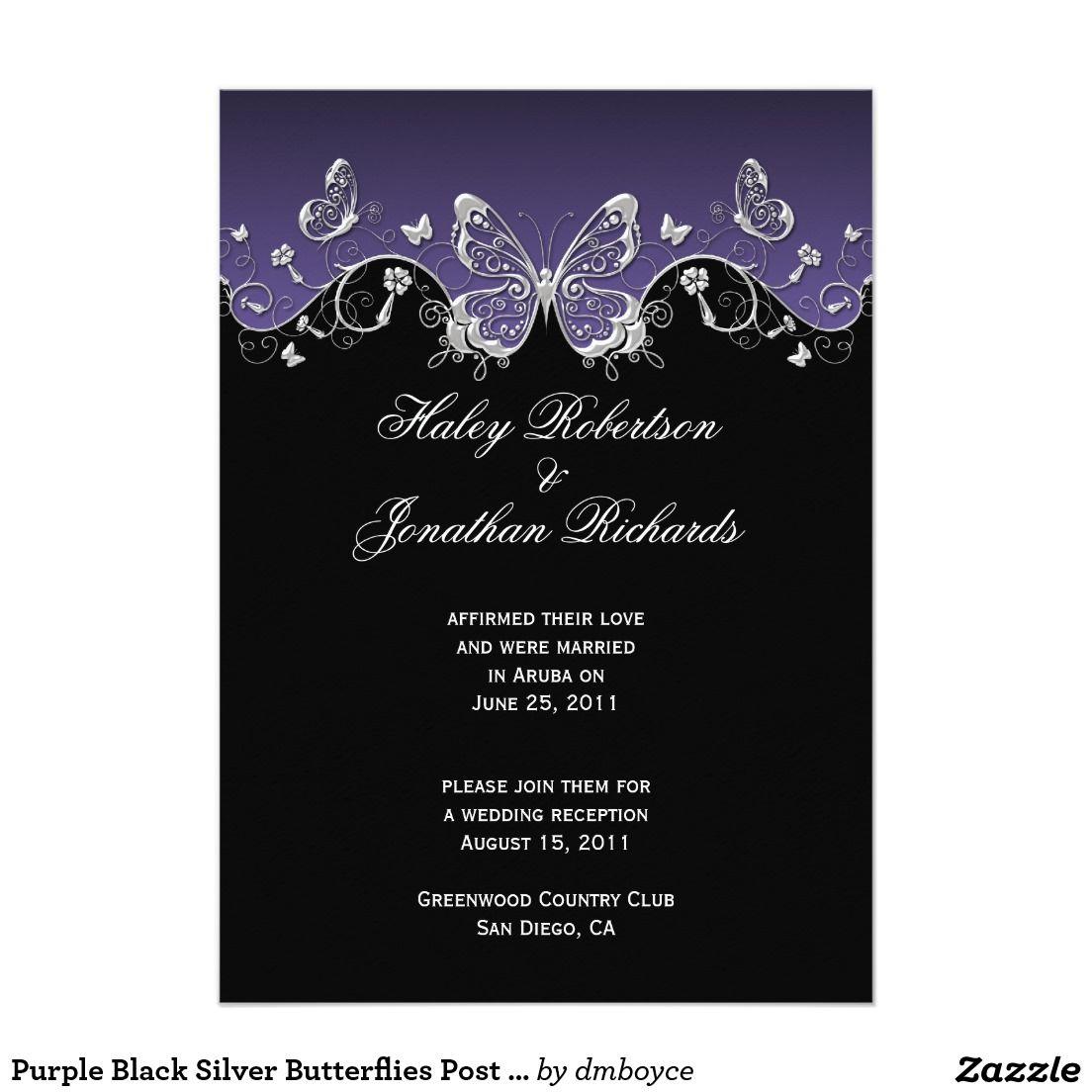 Purple Black Silver Butterflies Post Wedding Invitation | Pinterest ...