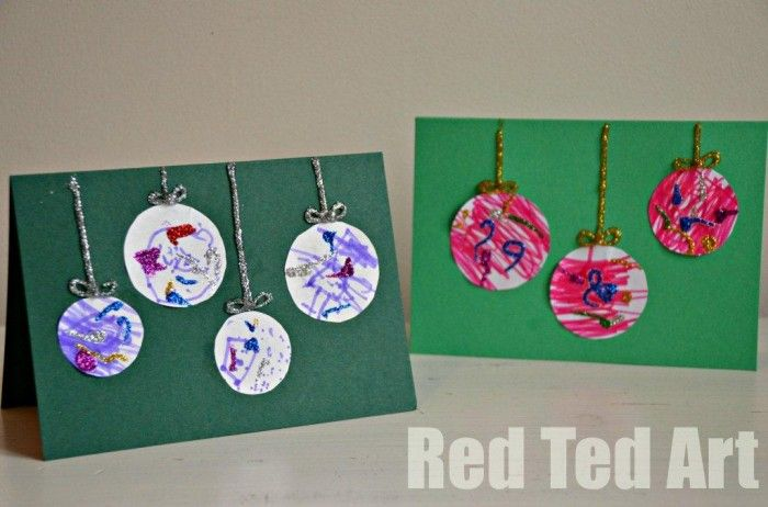 Christmas Ideas For Kids Cards.Preschooler Christmas Cards Simple Bauble Cards Jett