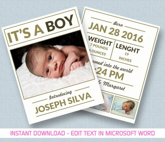 Baby Boy Announcement Printable Template For Ms By Myprintstudio