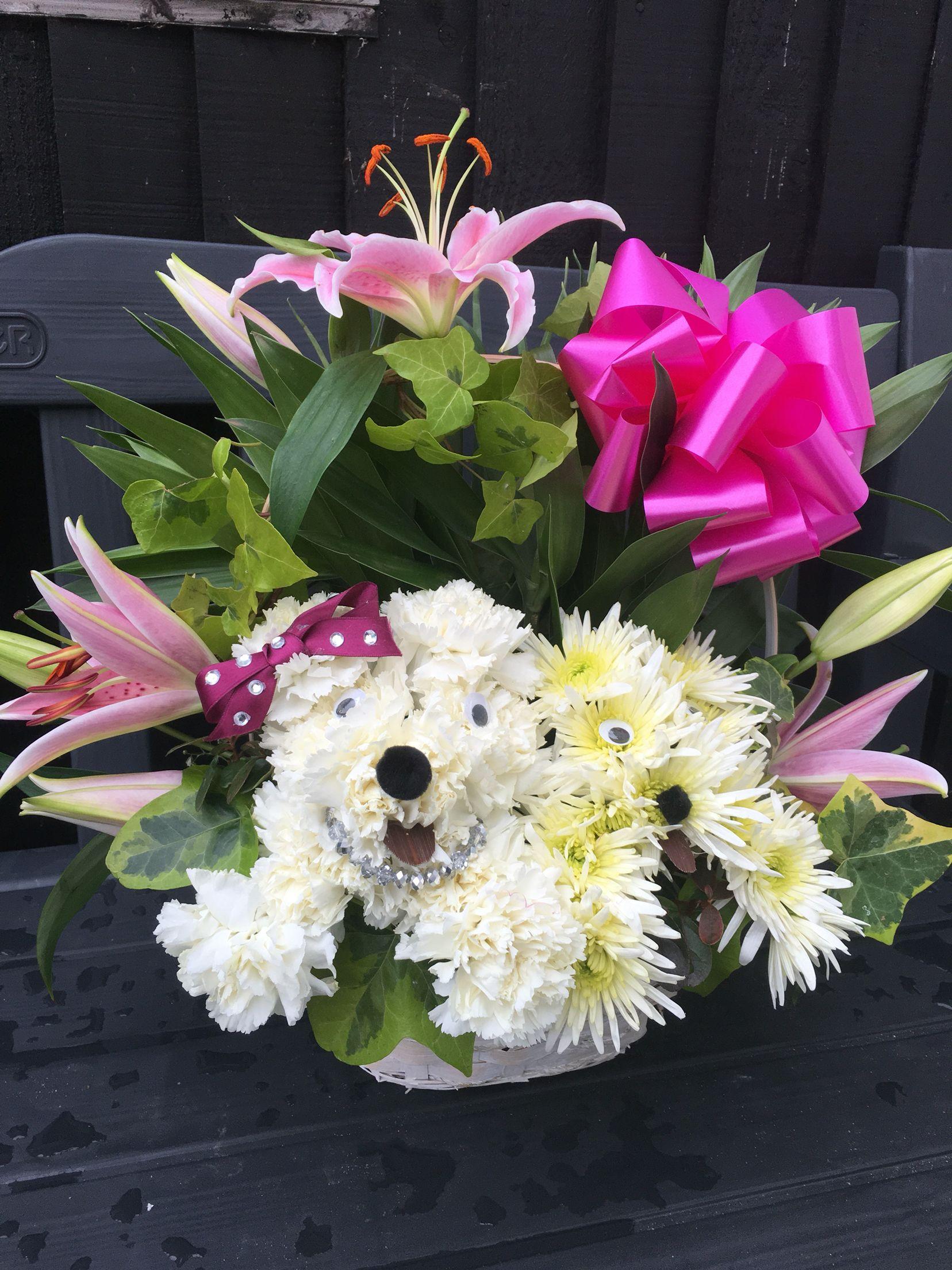 Puppy Flower Basket Birthday Flower Gift For My Nieces 18th Cute