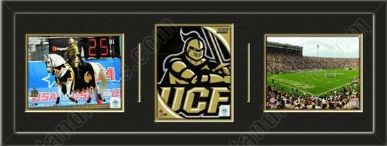 Three framed 8 x 10 inch University of Central Florida photos of your choice, double matted in team colors to 36 x 12 inches.  The lines show the bottom mat color. $119.99               @ ArtandMore.com