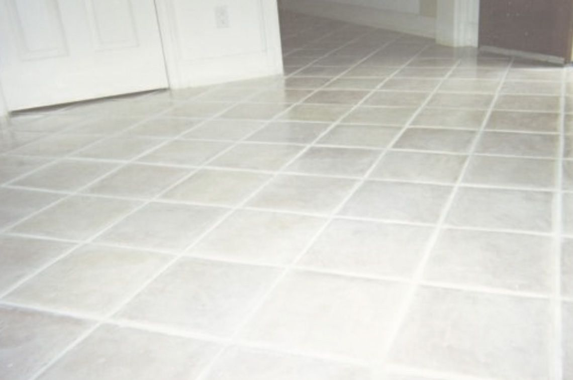 white wash tile and grout to update dated tile floor in kitchen at ...