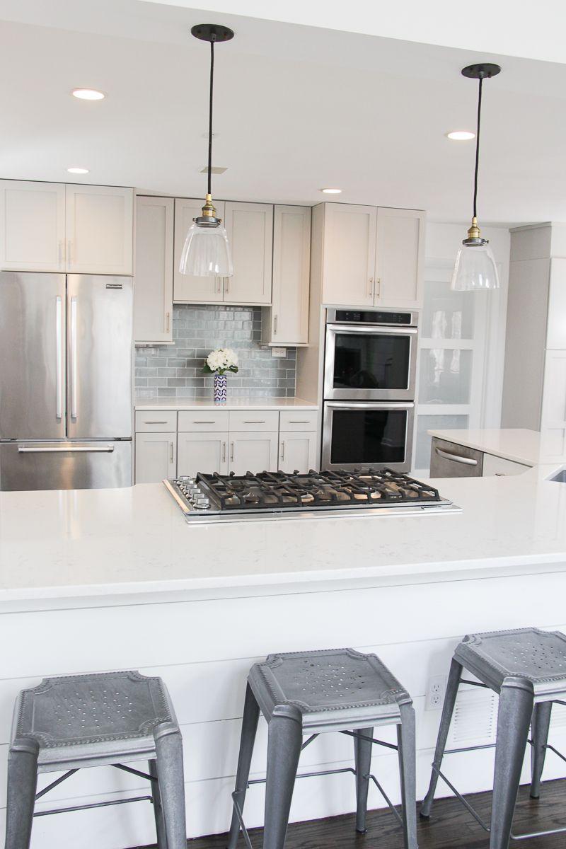 Shiplap Island | White and Gray Kitchen | White Kitchen Cabinets ...
