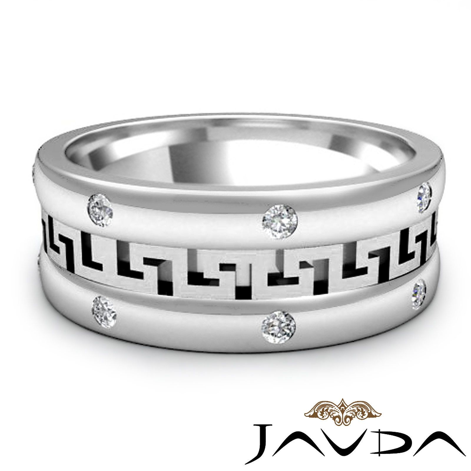 Details about Mens Wedding Solid Band Round Bezel Diamond