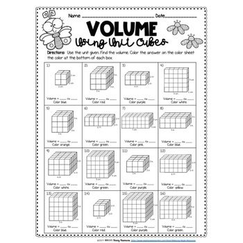 Finding Volume Using Unit Cubes Color by Number-Spring