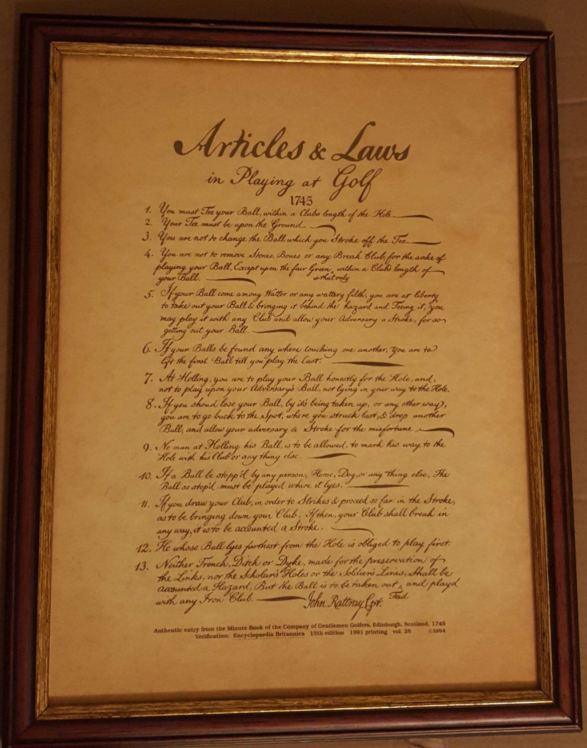"""Framed! The Original 13 Rules of Golf ... """"Articles and Laws in Playing at Golf"""" 12""""x16"""" by SweetbriarTreasures on Etsy"""