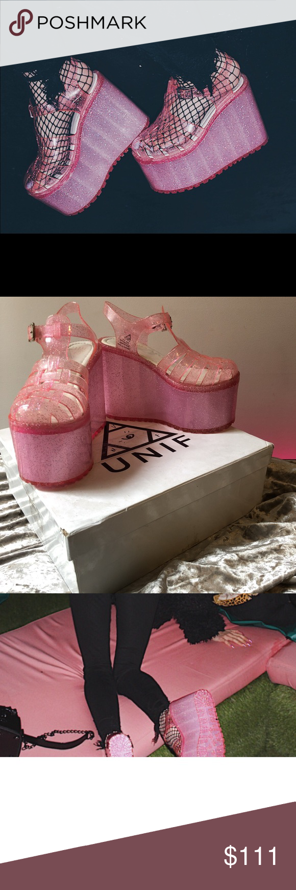"a0af78903ea3 Pink ""HELLA JELLY"" Pink glittery platform jelly sandals UNIF Shoes Platforms"