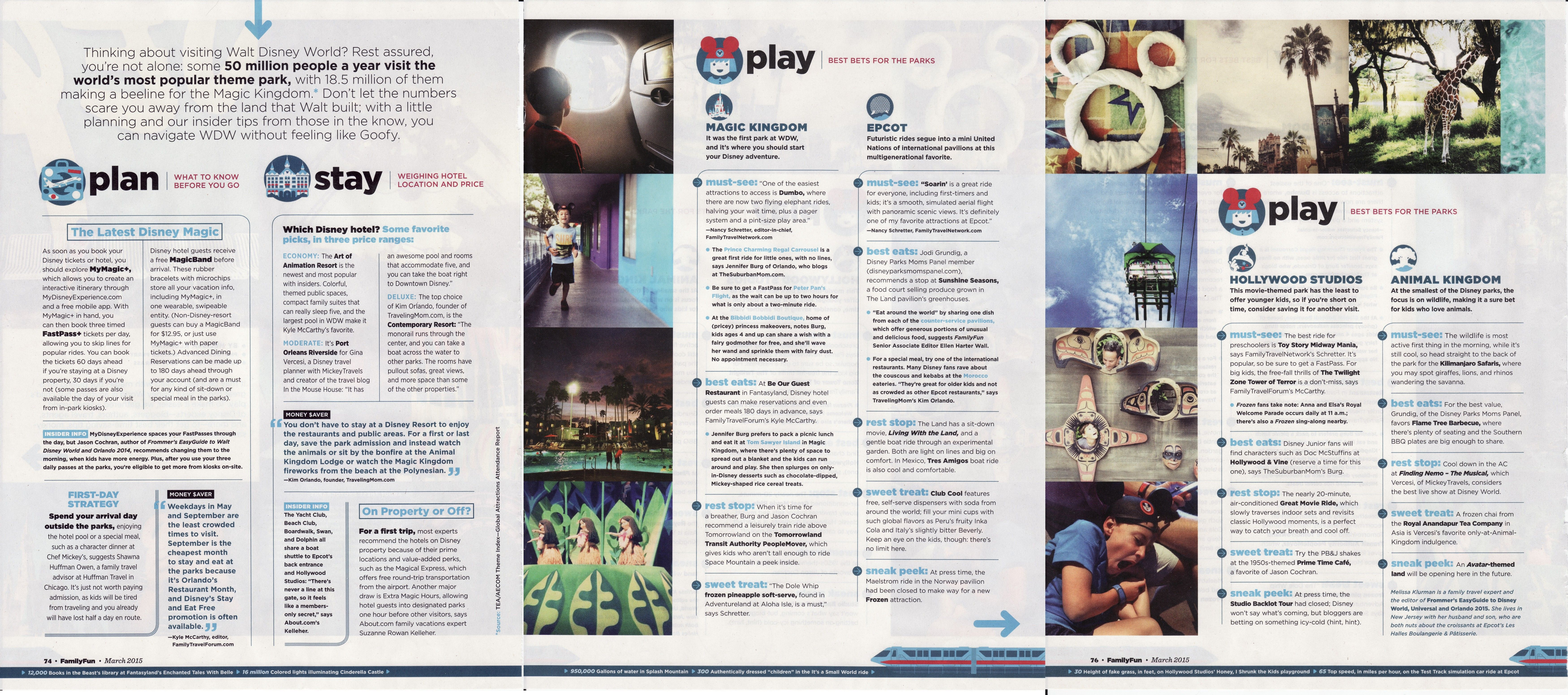 Family Fun Disney Trip planning article (3 pages stitched to one image, zoom in viewer as needed.)