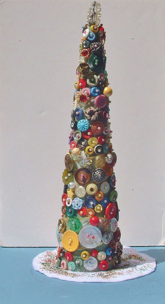 """Vintage Button Rhinestone & Pearl  Christmas Tree. 200 + Buttons 17"""" Tall.  by emenow, $69.00"""