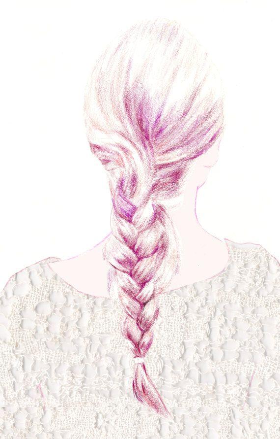 Thick Red French Braid Back Of Head Fashion By Susiejuliadesign 12 00 Digital Fashion Illustration Fashion Art Illustration Illustration