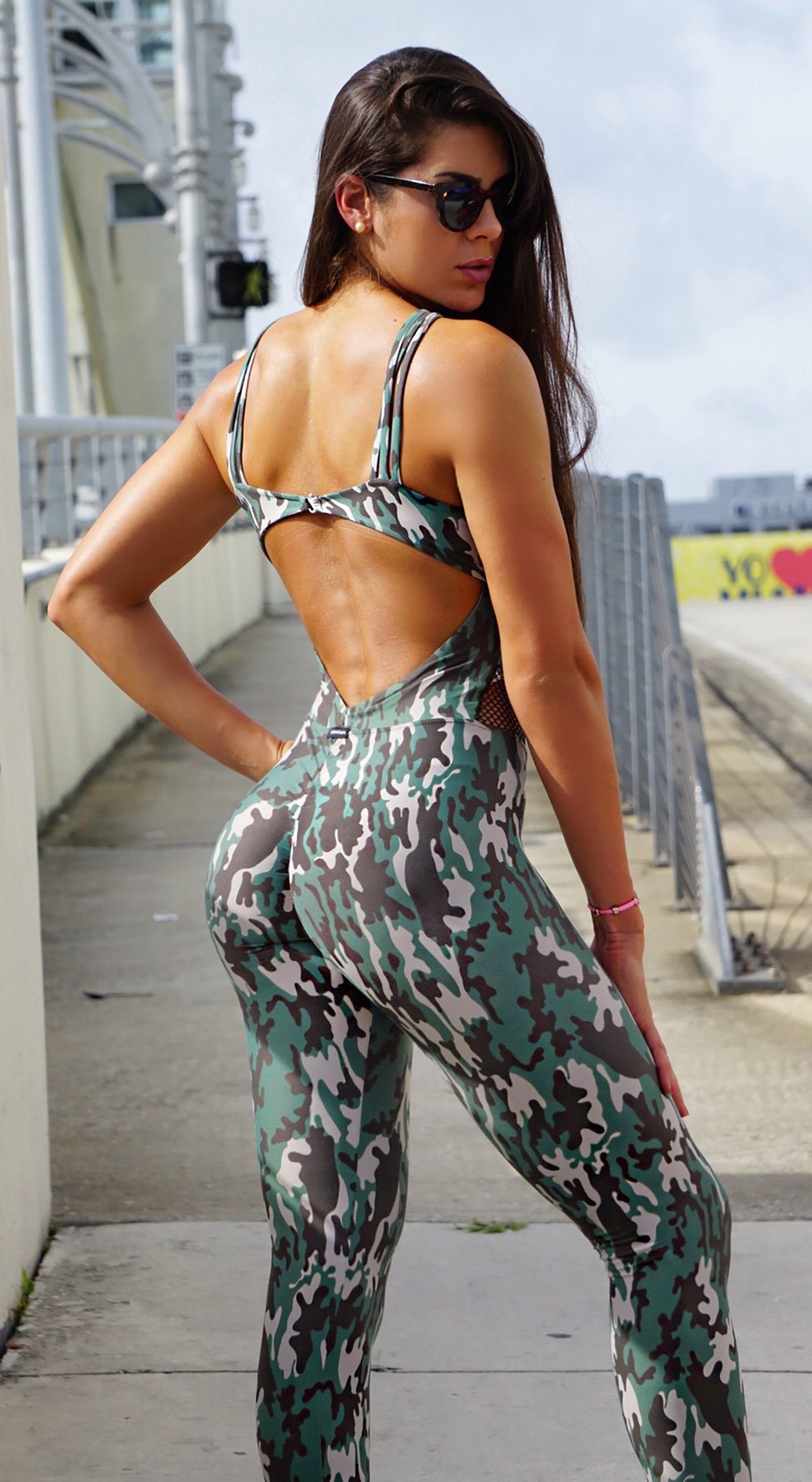 90d5be6031fe Brazilian Workout Jumpsuit - Scrunch Booty Army Green - Top Rio Shop