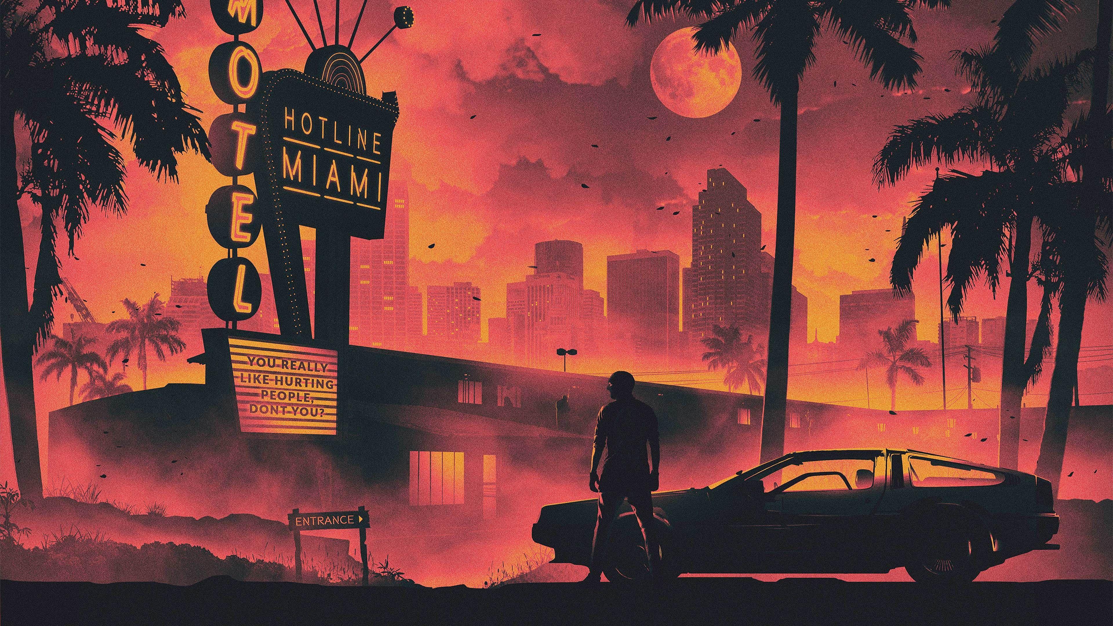 Hotline Miami Game Retro Style Dark Life Cityscape 5k Sunset Wallpapers Retro Wallpapers Miami Wallpapers Hotline Miami Wallpapers Hd Wal Cizim Arka Planlar