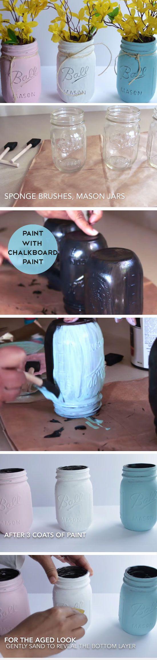 Pastel mason jar vases diy spring table decor center pieces easy