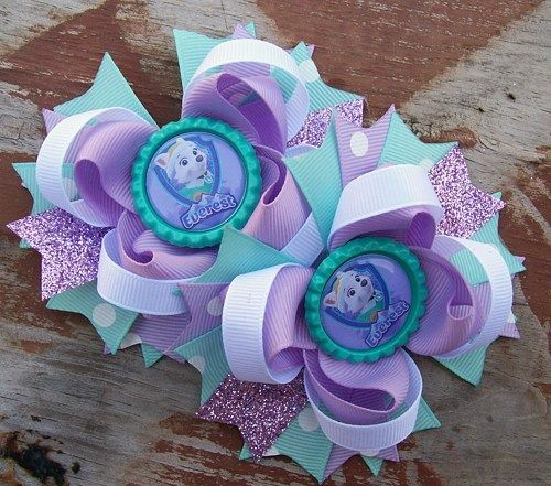 Large Boutique Hair Bow Paw Patrol Everest Inspired Bow