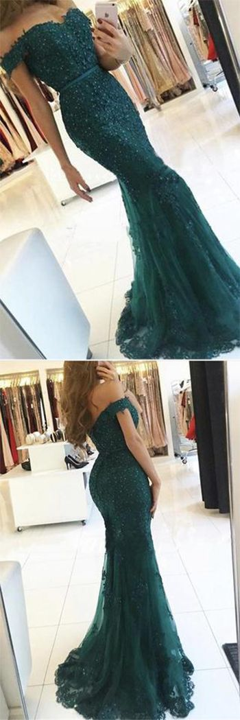 35019b7c6f Elegant Emerald Green Off Shoulder Lace Mermaid Beads Sweetheart Prom  Dresses UK PH412