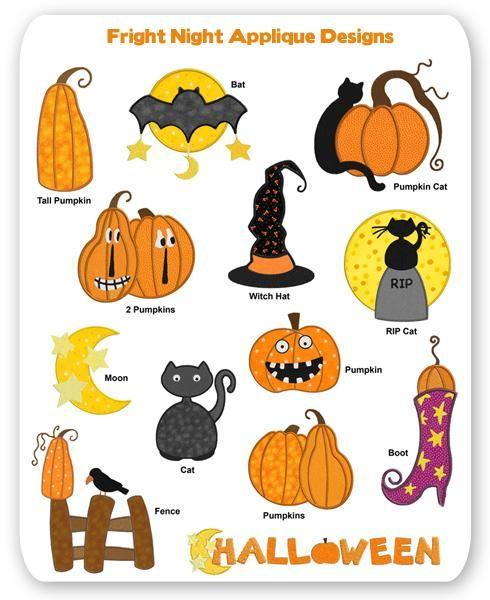 Fright Night Halloween Applique Designs Pumpkin Fall Witch Cat Bat ...