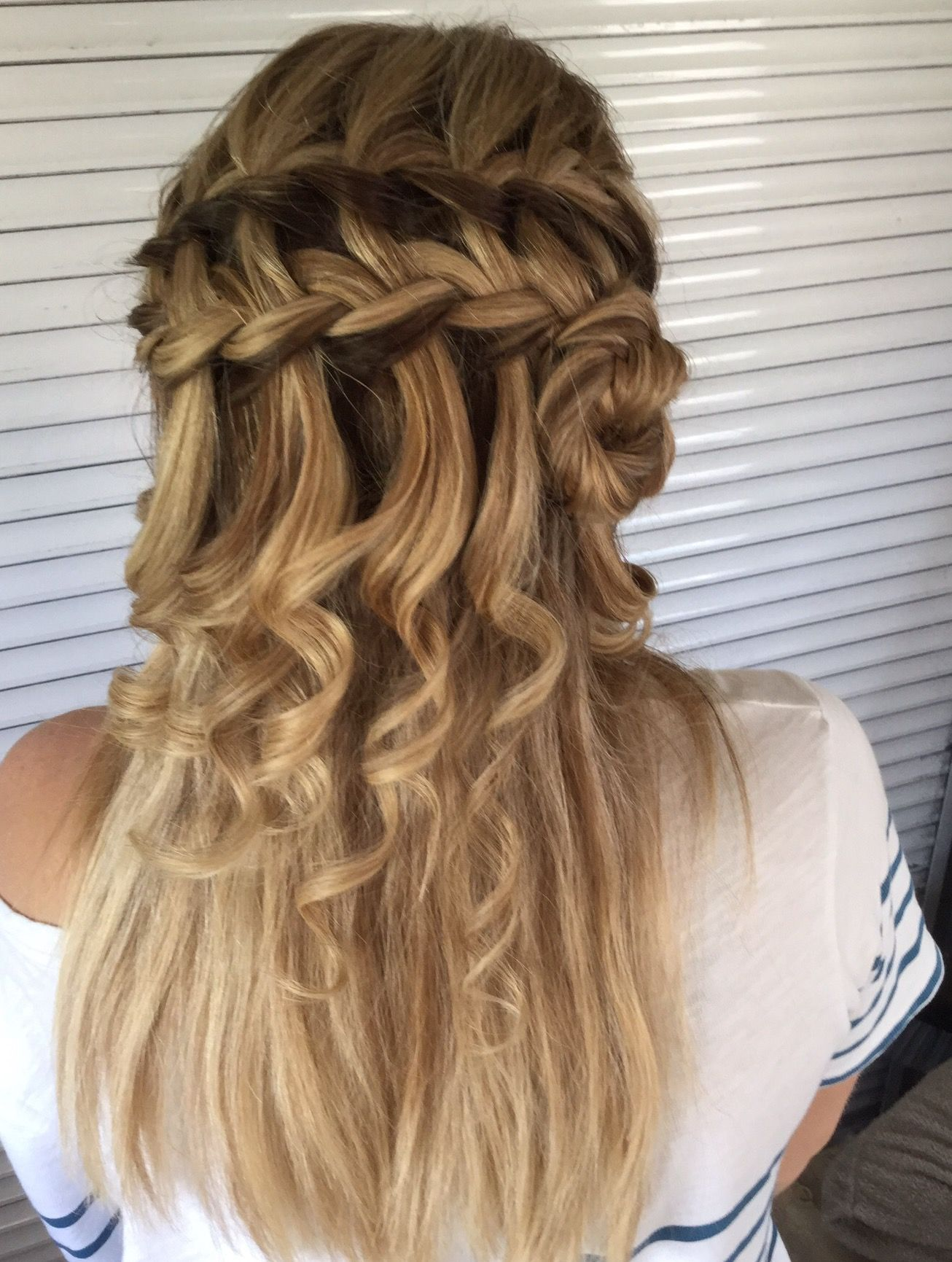 curled waterfall braid. #curls #braid #waterfall #hairup | harika