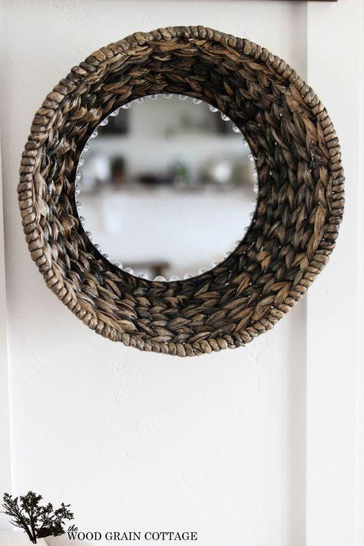 DIY Wicker Basket Mirror