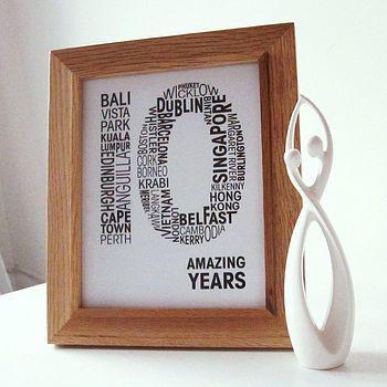 Personalised Anniversary Print Ideas10 Year Gift Wedding
