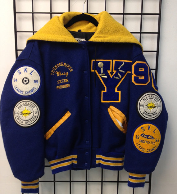 The Vintage Thundebirds Missy Soccer Swimming Letterman Jacket Letterman Jacket Outfit Letterman Jacket Ideas Letterman Jacket