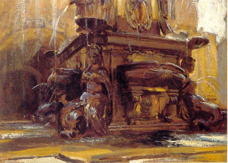 """Fountain at Bologna,"" John Singer Sargent, ca. 1906, oil on canvas, 20 x 28"", private collection."