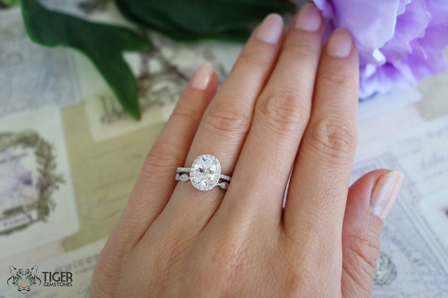 1 5 Carat Oval Halo Wedding Set Vintage Bridal By Tigergemstones Halo Wedding Set Oval Halo Engagement Ring Engagement Rings