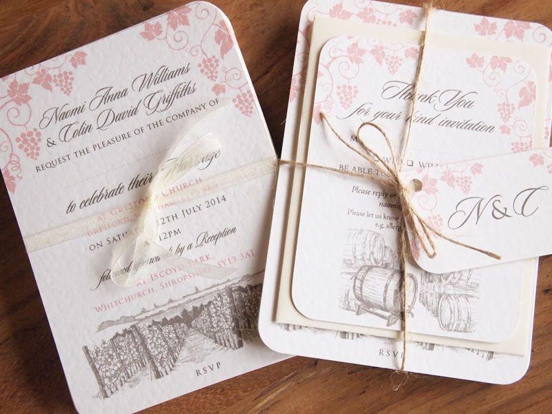 vineyard wedding invitation bundle tied with brown string - Wedding Invitation Bundles