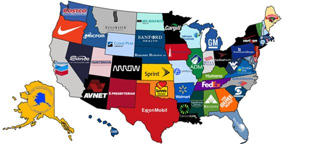 What The Biggest Companies Are From Each State In The Us Revenue