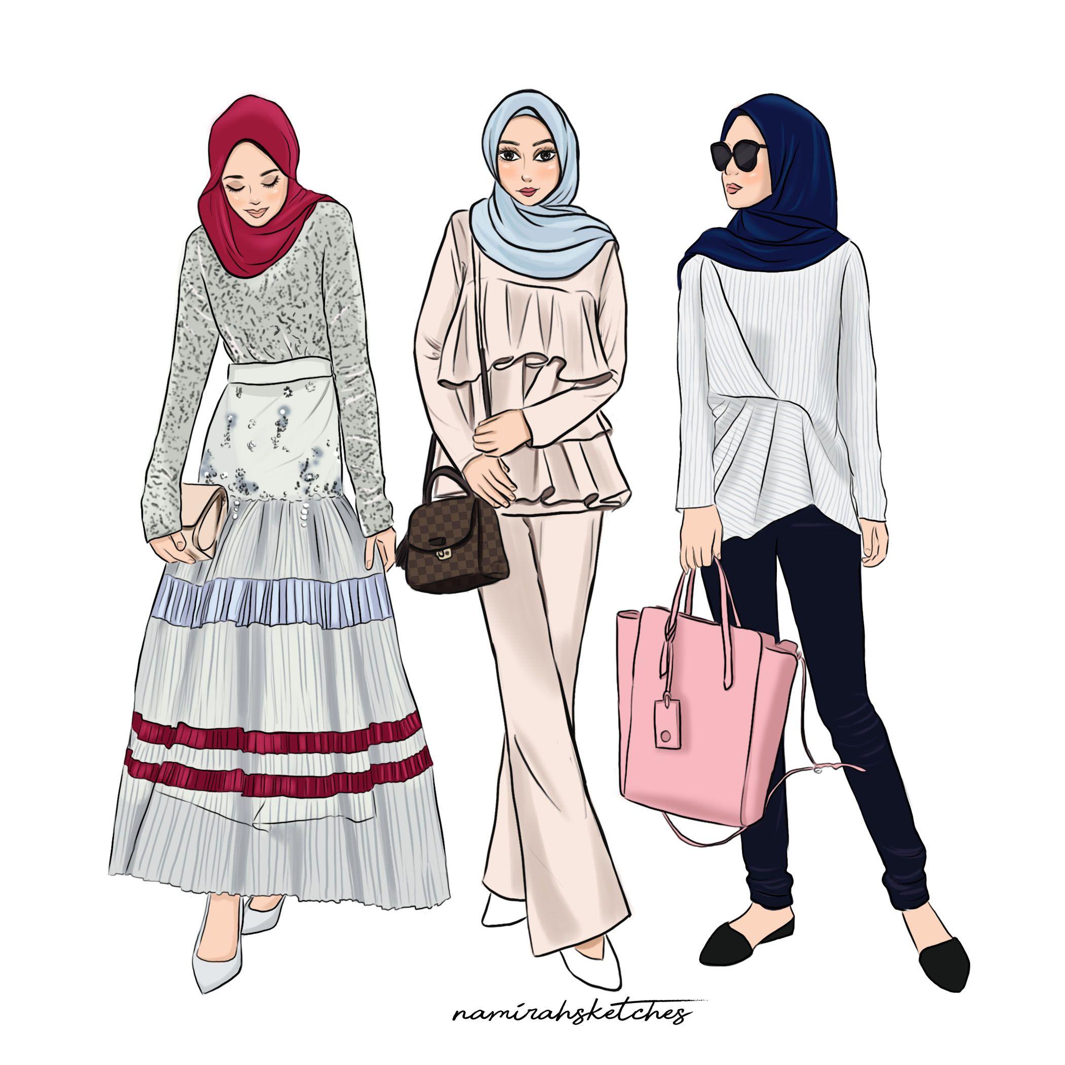 Ameera Zaini Illustration by namirahsketches  Ilustrasi model