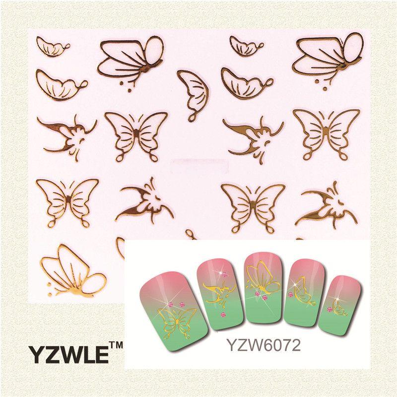 YZWLE 1 개 2017 최고 판매 골드 나비 네일 아트 스티커 네일 골드 스티커