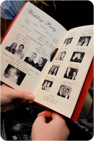 photos of the wedding party in the program adds a very personal
