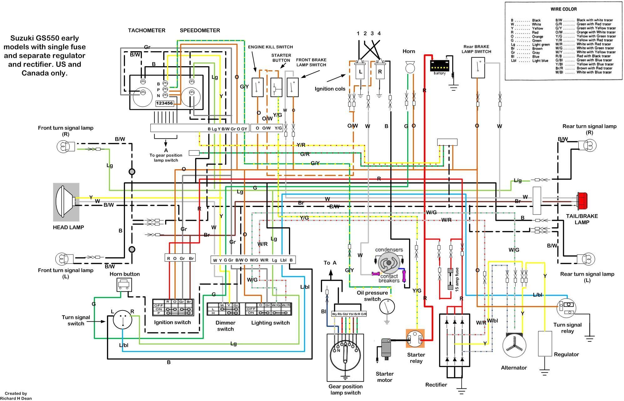 Suzuki Gs550 wiring diagram | Motorsports | Motorcycle