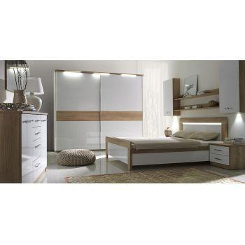 set dormitor manhattan plet modern culoare stejar nebraska