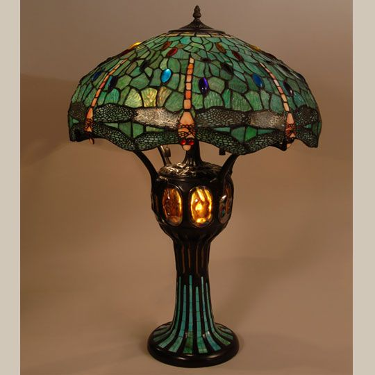 The lamp is a contemporary one and is in original excellent mission oak furniture arts crafts movement accessories tiffany style dragonfly lamp shade and mosaic lamp base audiocablefo