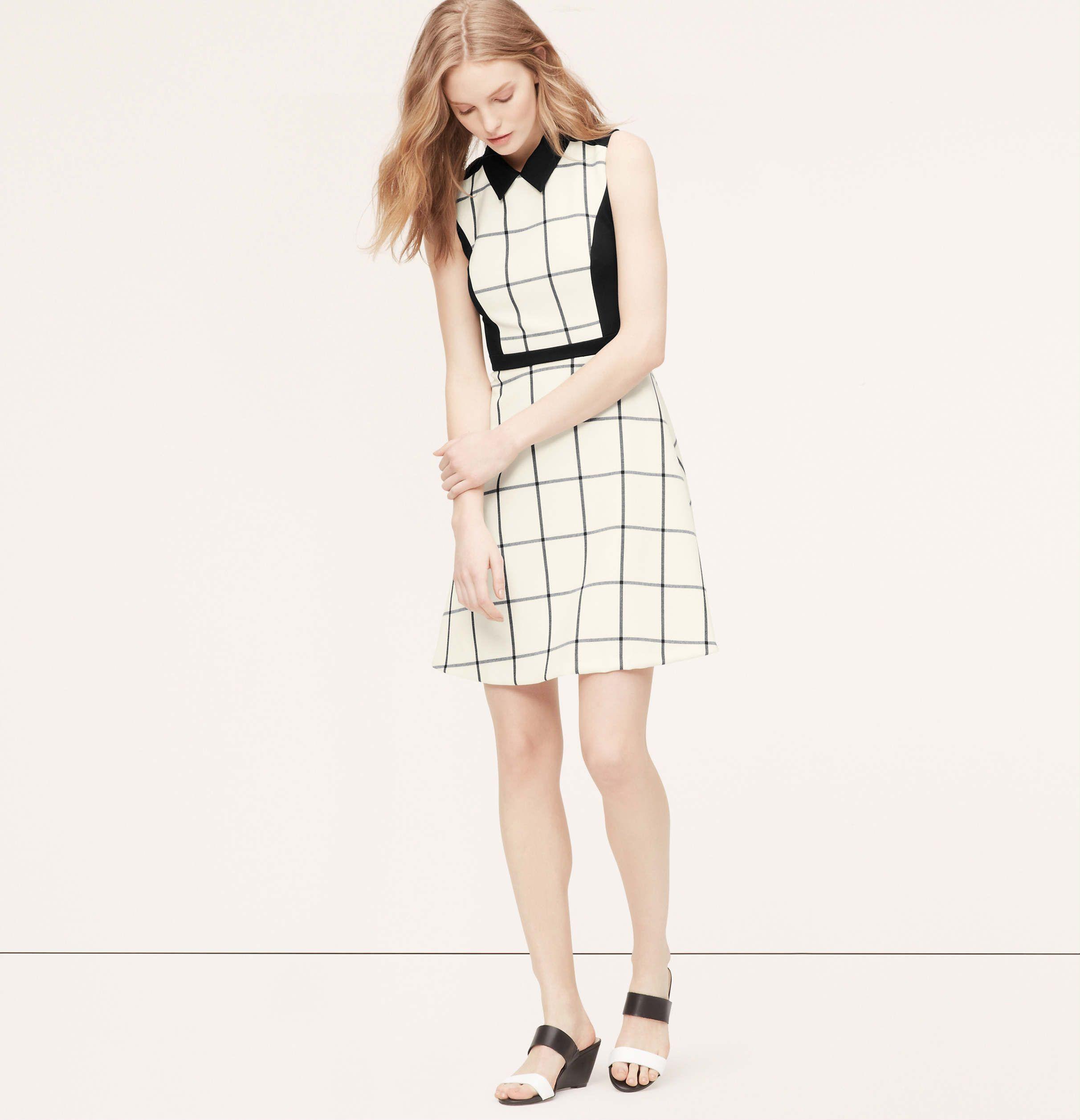 black and white sleeveless windowpane dress :: Anne Taylor Loft ...