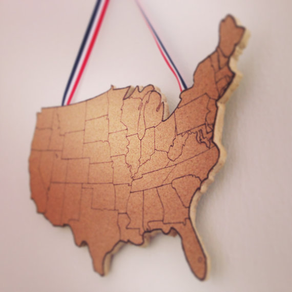 United States Corkboard Map USA Cork Map Pin Board Gifts for