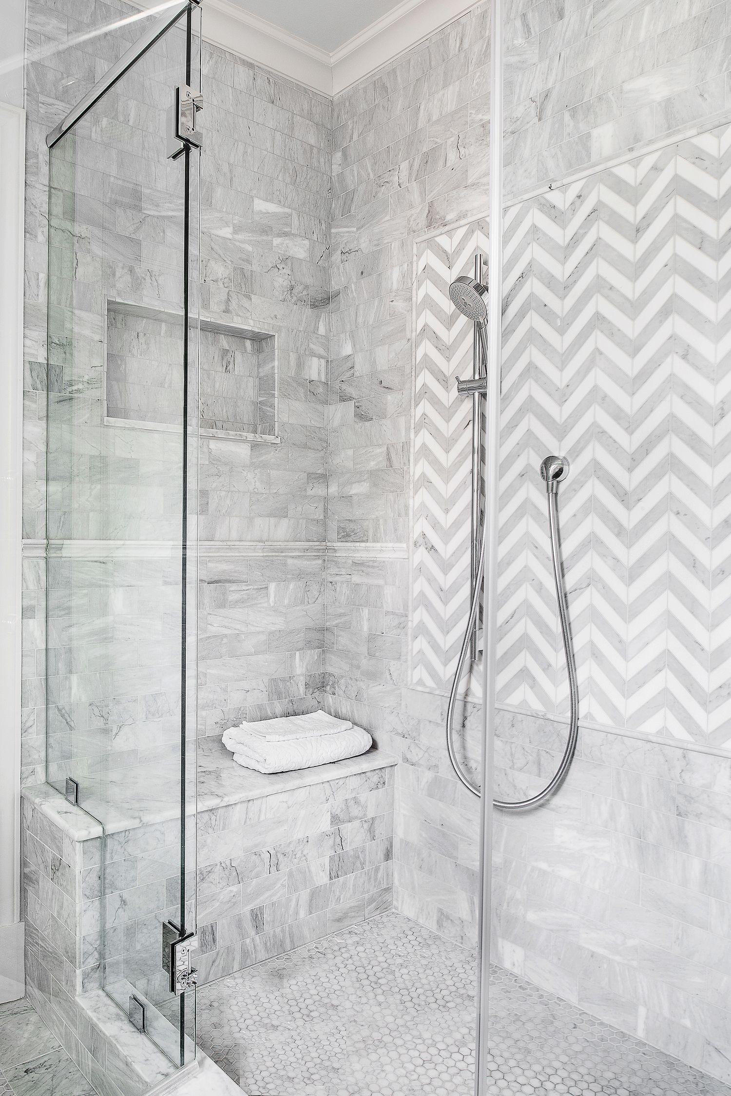 White And Gray Tile Shower Herringbone Pattern Design