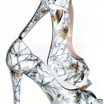 Snow White Camo, Hand Painted Womenu0027s Wedding Bridal Shoes, Custom Heels To  Flats