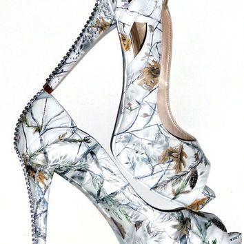 Snow White Camo, Hand Painted Womenu0027s Wedding Bridal Shoes, Custom Heels To  Flats