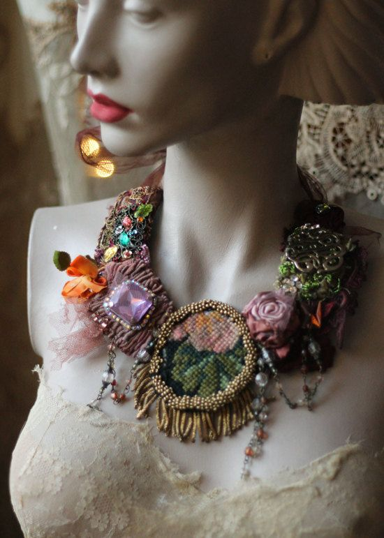 Vintage roses bold statement necklace from by FleursBoheme