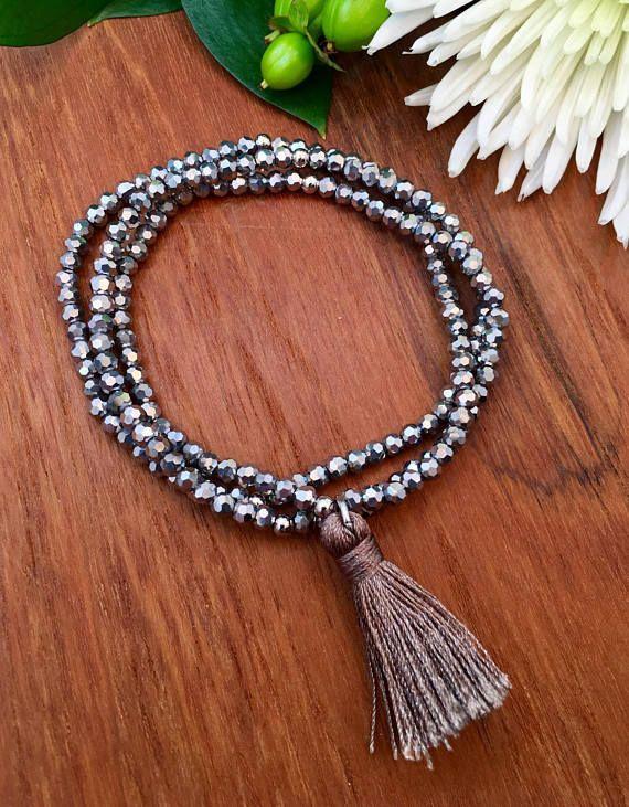 Triple Stretch Bracelet Wrap Women S Beaded Swarovski Crystal Tel Yoga Gift Studio Bb Designs